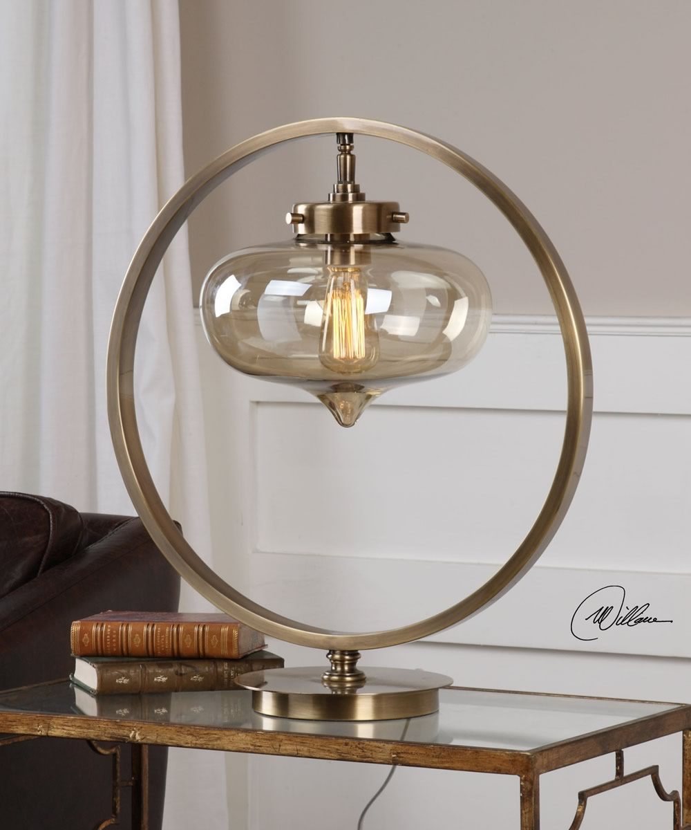 "21""H Namura Antiqued Brass Accent Lamp"