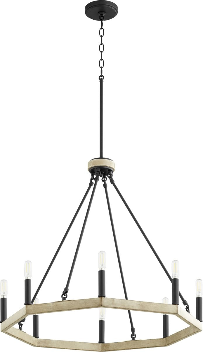 "25""W Alpine 8-light Chandelier Noir w/ Driftwood finish"