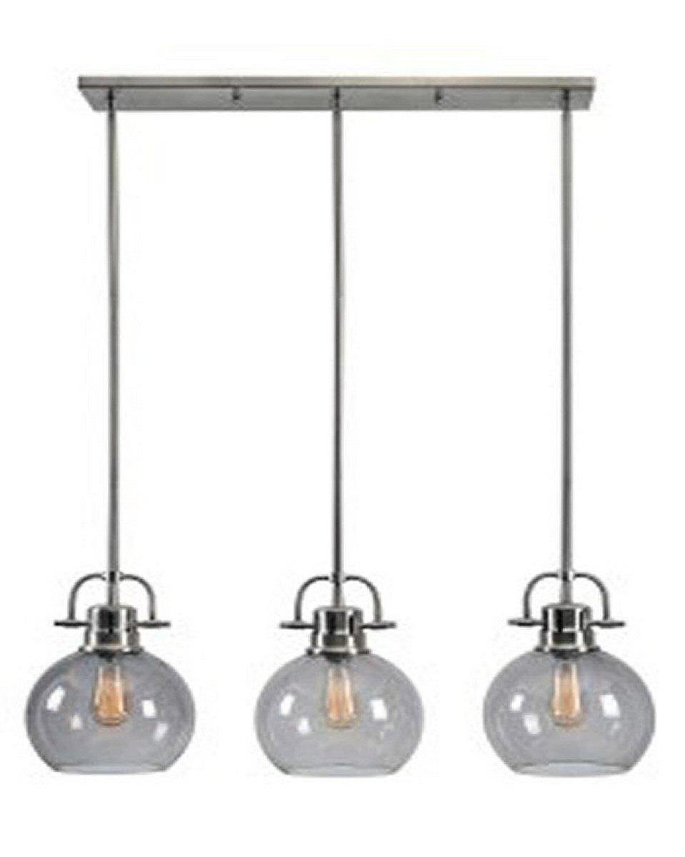 "32""W Johano Glass Linear Island Pendant Light Gray"