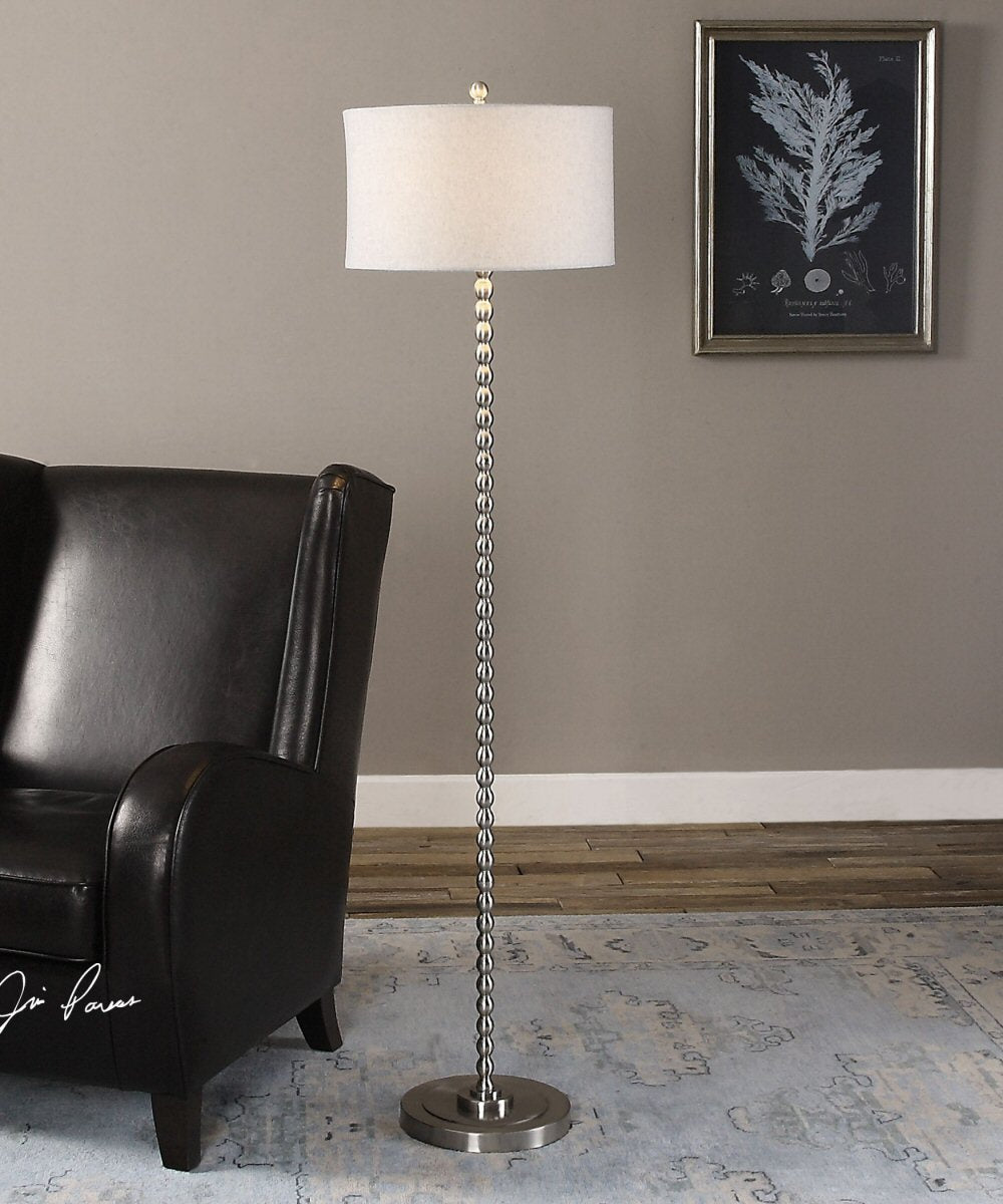 "65""H Sherise Beaded Nickel Floor Lamp"