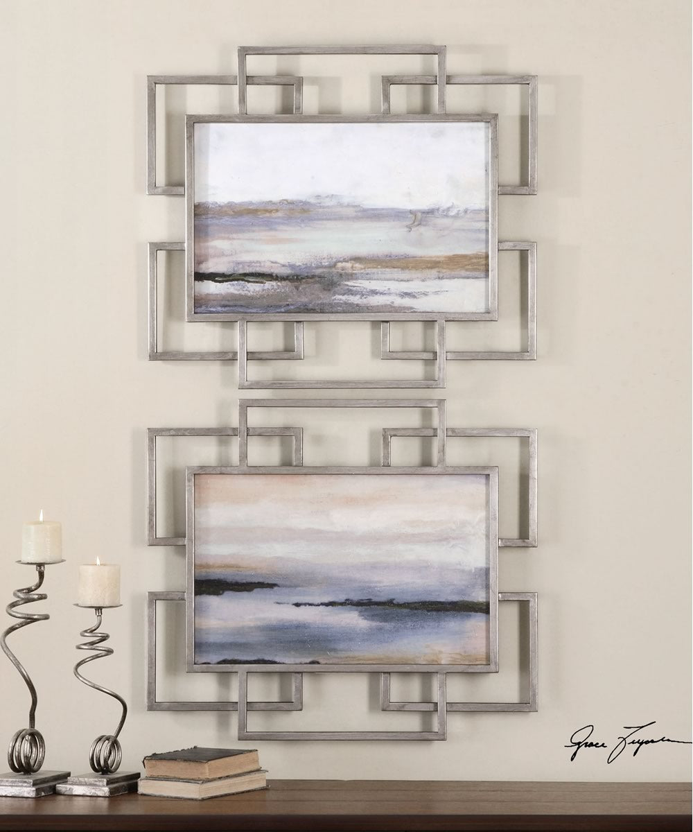 "26""H x 30""W Gray Mist Framed Art Set of 2"
