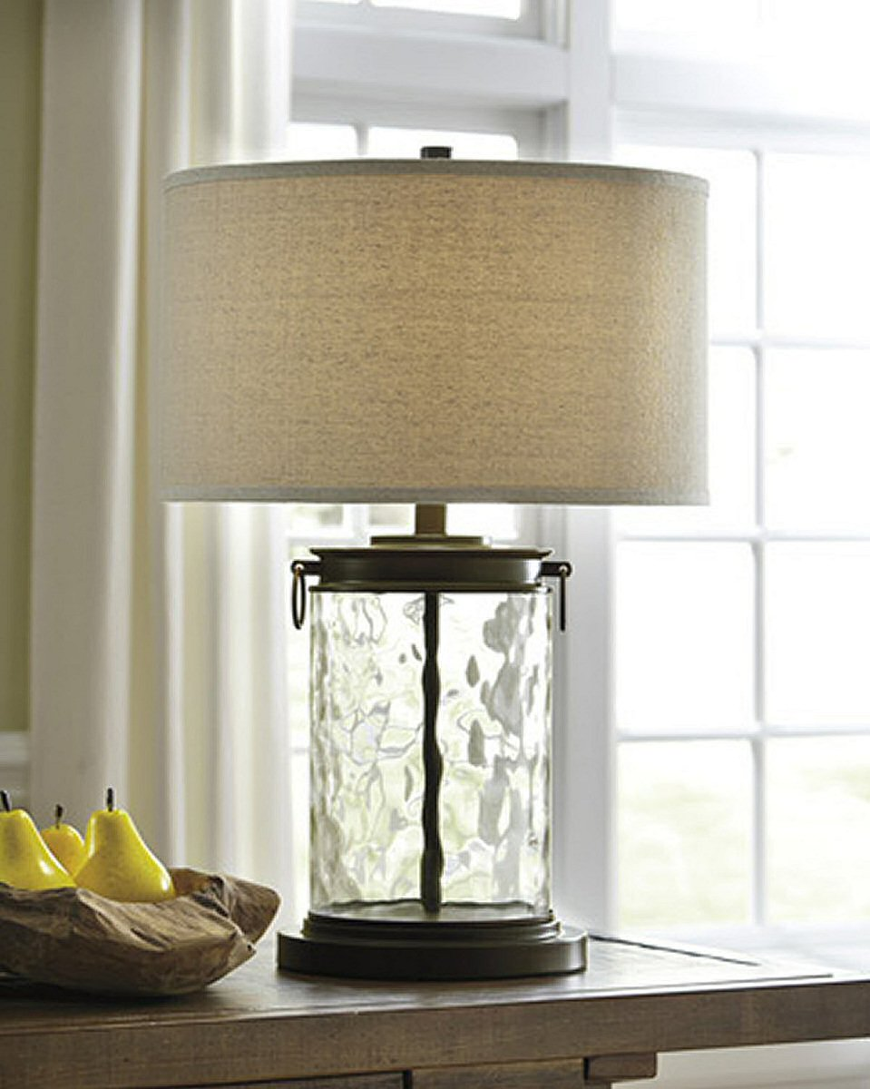 Tailynn Glass Table Lamp Clear/Bronze