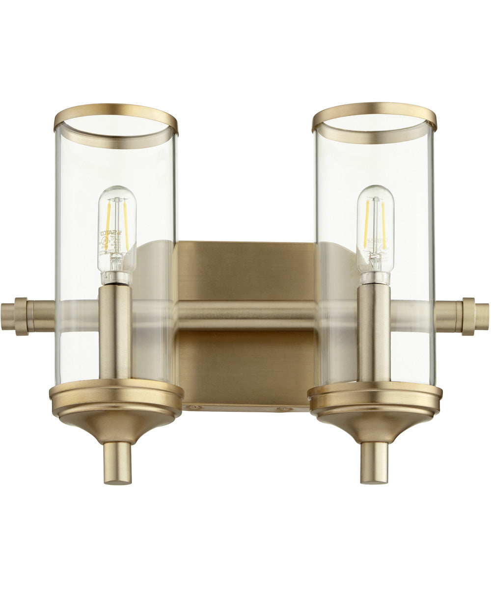 "13""W Collins 2-light Bath Vanity Light Aged Brass"