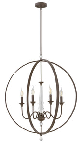 "30""W Waverly 5-Light Stem Hung Foyer in Oil Rubbed Bronze"