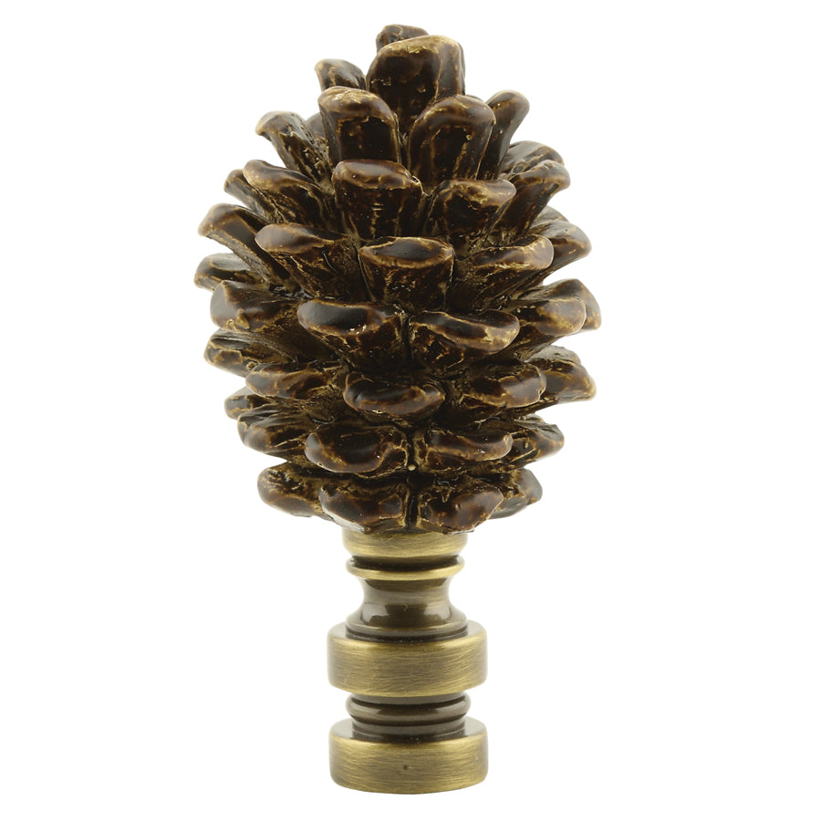 "3""H Painted Resin Pinecone Lamp Finial with Antiqued Brass Base"