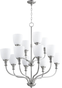 "34""W Richmond 12-light Chandelier Satin Nickel"