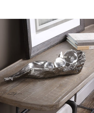 "4""H Three Peas In A Pod Metallic Sculpture"