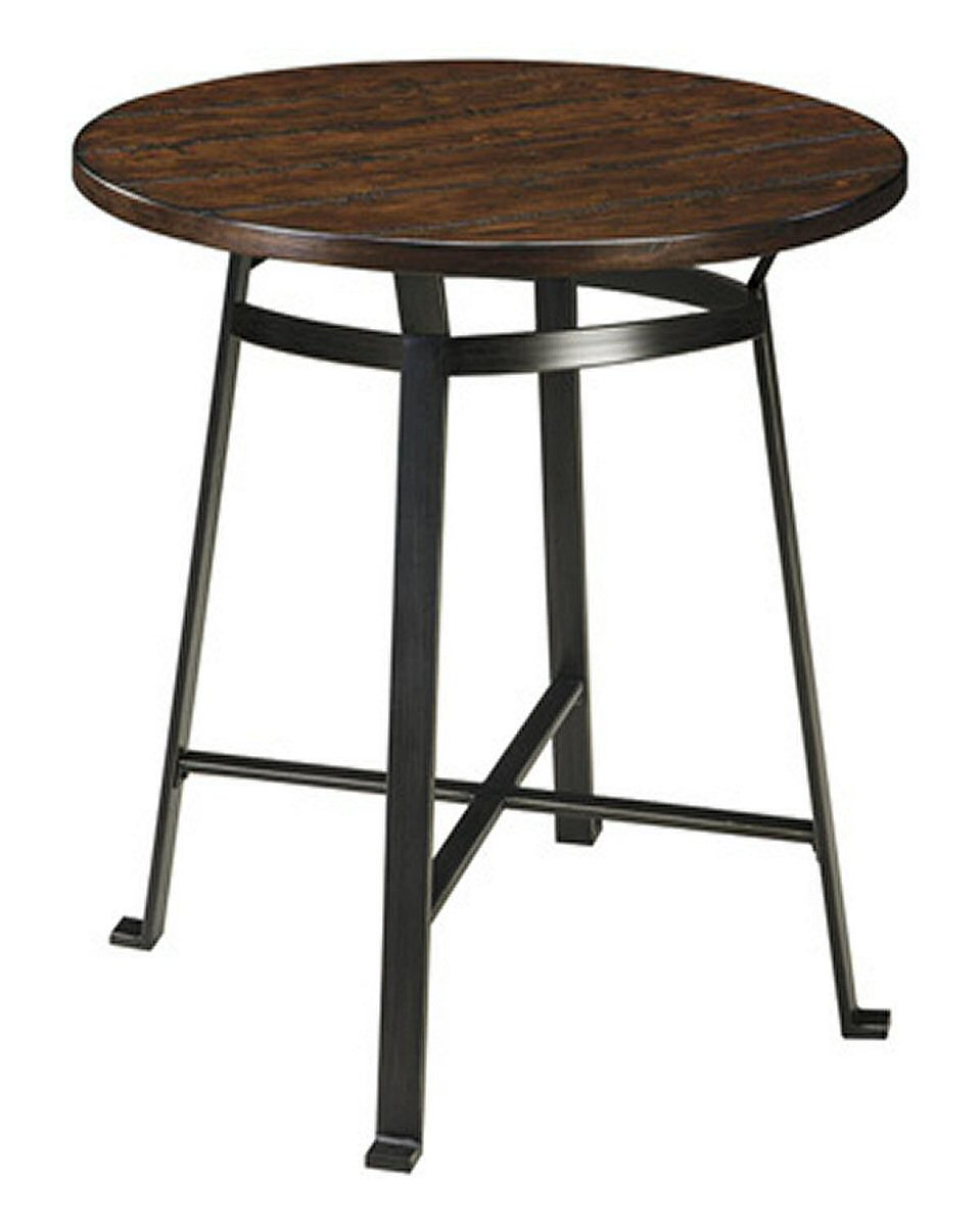 Challiman Round Dining Room Bar Table Rustic Brown