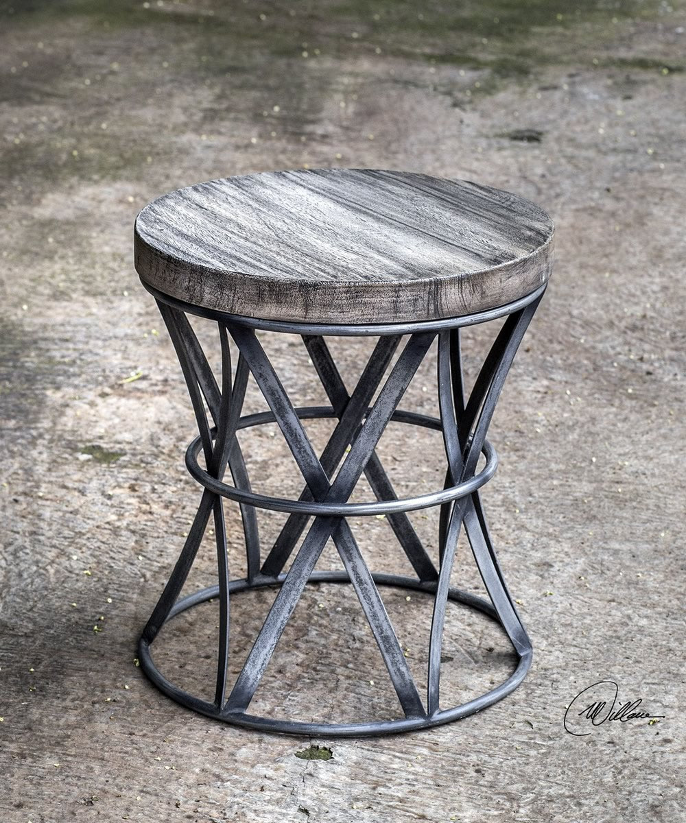 "18""H Ranier Industrial Accent Stool"