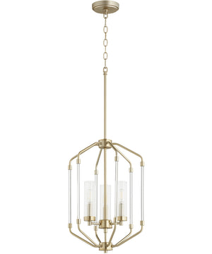 "14""W Citadel 3-light Entry Foyer Hall Chandelier Aged Brass"