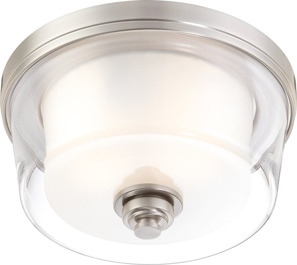 "13""W Decker 2-Light Close-to-Ceiling Brushed Nickel"