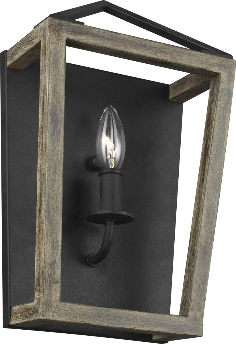 Gannet 1-Light Wall Sconce Weathered Oak Wood/Antique Forged Iron