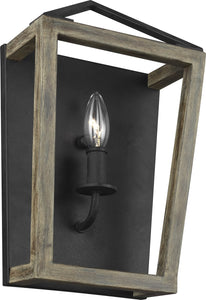 0-002260>Gannet 1-Light Wall Sconce Weathered Oak Wood/Antique Forged Iron