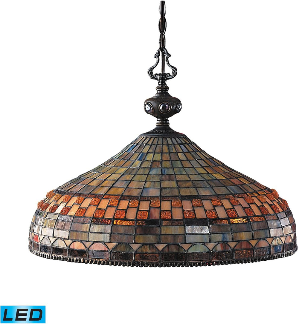 "20""W Jewelstone 3-Light LED Chandelier Classic Bronze"