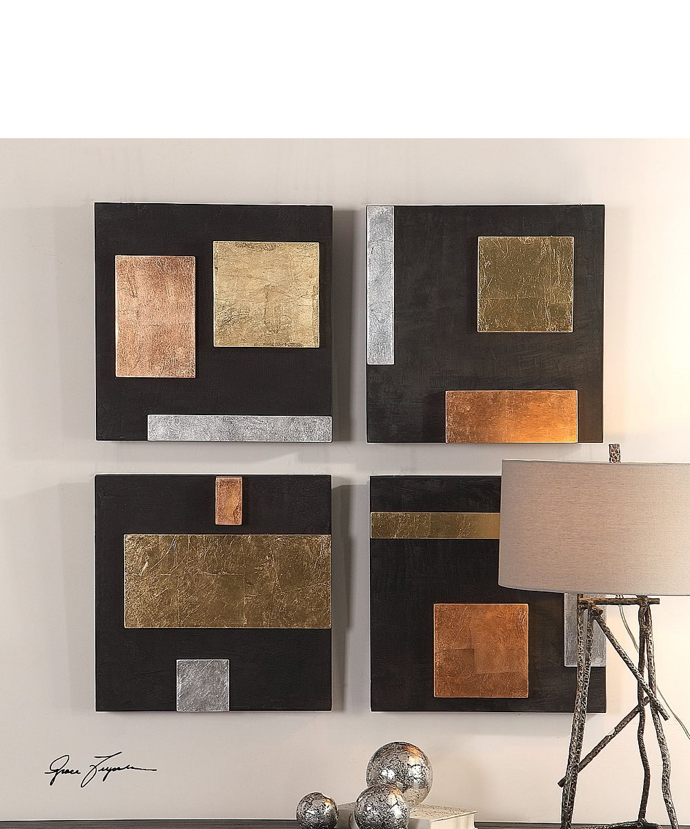 "18""H Mixed Metals Wall Art Set of 4"