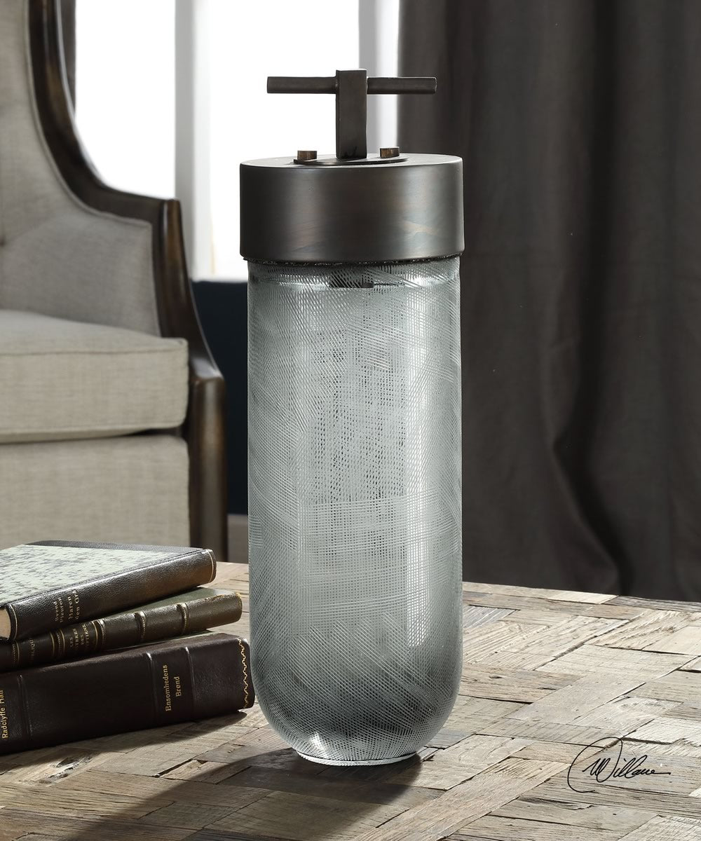 "16""H Virika Etched Gray Glass Jar"