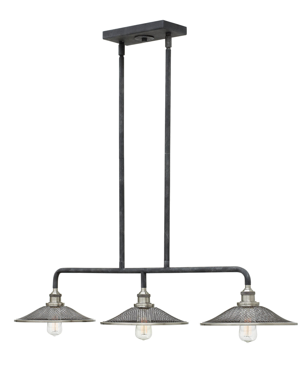 Rigby 3-Light Stem Hung Linear in Aged Zinc
