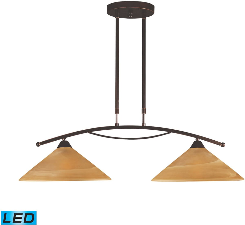 "31""W Elysburg 2-Light LED Island Aged Bronze/Tea Stained Glass"