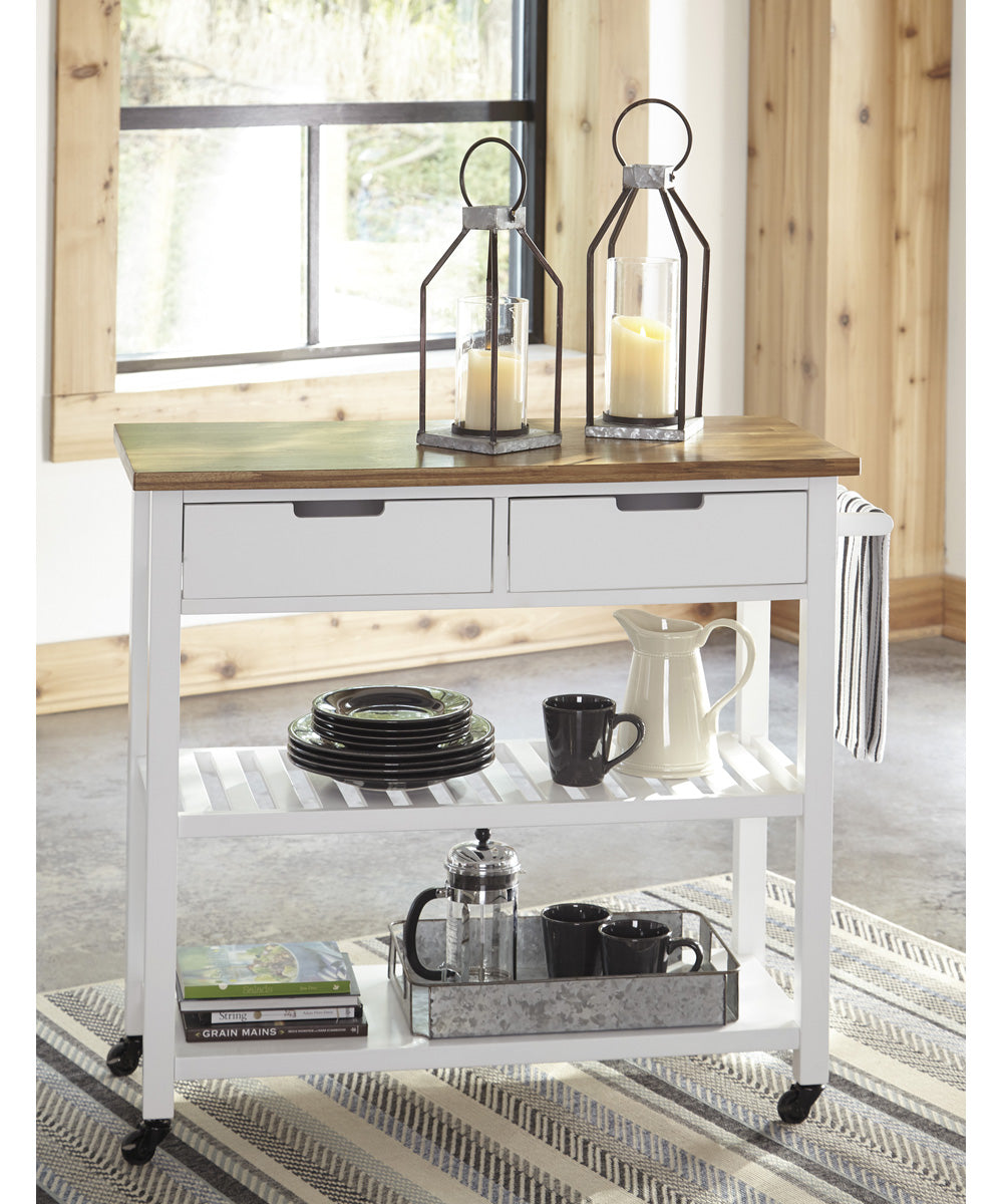 "35""H Withurst Kitchen Cart White/Light Brown"