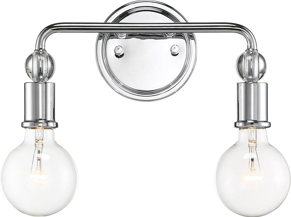 "14""W Bounce 2-Light Vanity & Wall Polished Nickel"