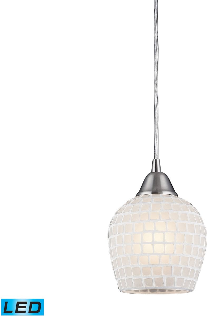 "5""W Fusion 1-Light LED Pendant Satin Nickel/White Glass"