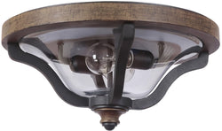 Ashwood 2-Light Outdoor Flush Mount Textured Black/Whiskey Barrel