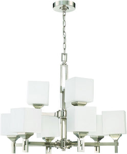0-002605>Urbane 9-Light Chandelier Brushed Polished Nickel