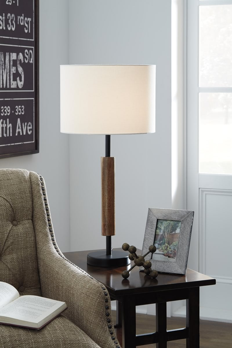 "28""H Maliny Wood Table Lamp (2/CN) Black/Brown"