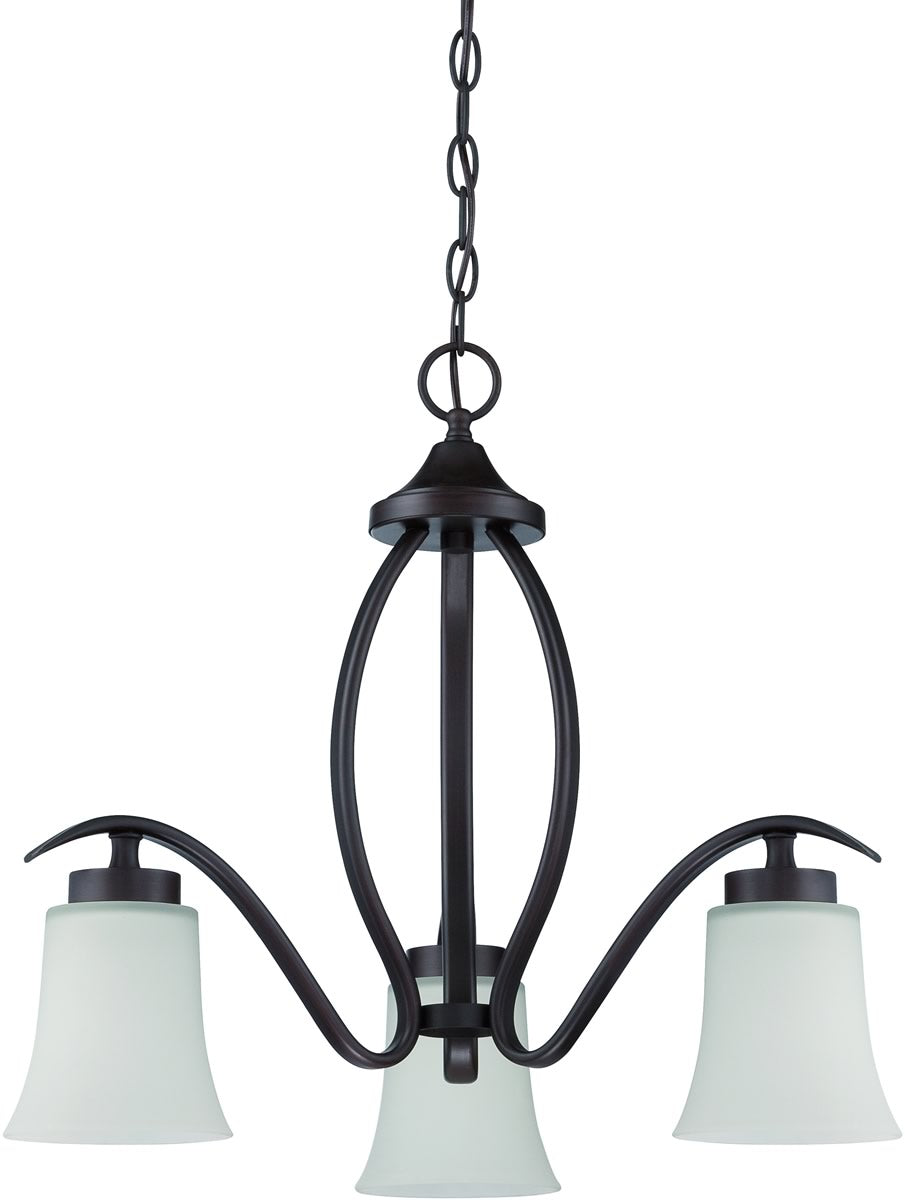 "22""W Northlake 3-Light Down Chandelier Aged Bronze Brushed"