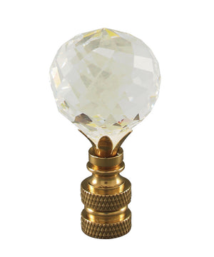 "2""H Faceted Crystal Ball Polished Brass Finial"