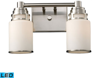 "14""W Bryant 2-Light LED Vanity Satin Nickel/Opal White Glass"