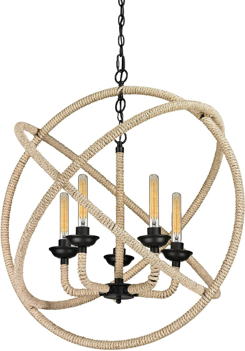 "32""W Pearce 5-Light Chandelier Matte Black"
