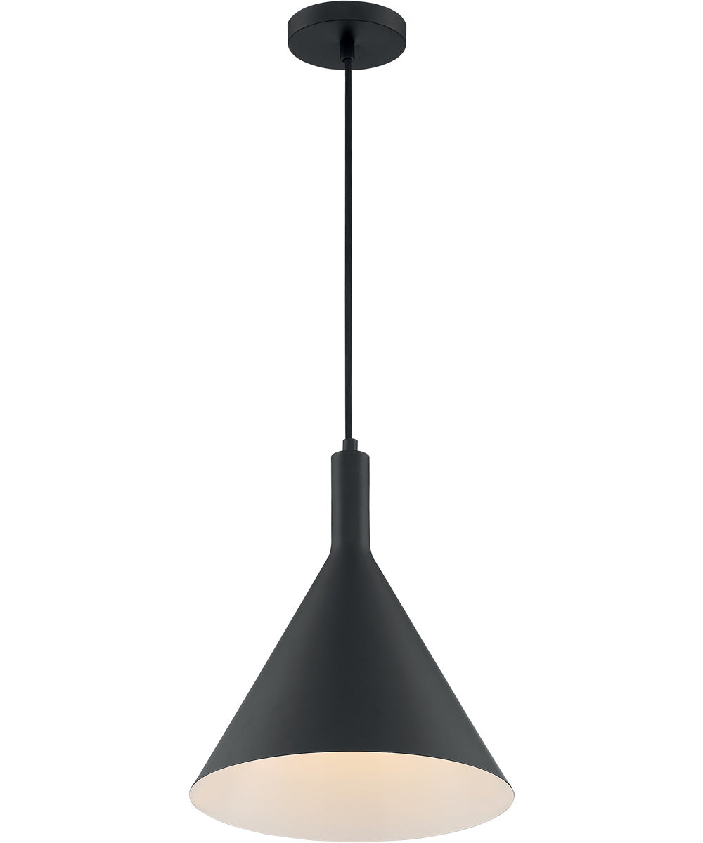 "12""W Lightcap 1-Light Pendant Matte Black"