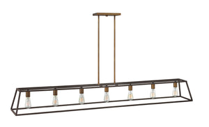 "65""W Fulton 7-Light Stem Hung Linear in Bronze"