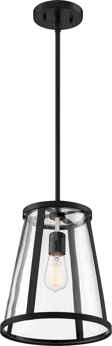 "11""W Bruge 1-Light Pendant Matte Black / Clear"