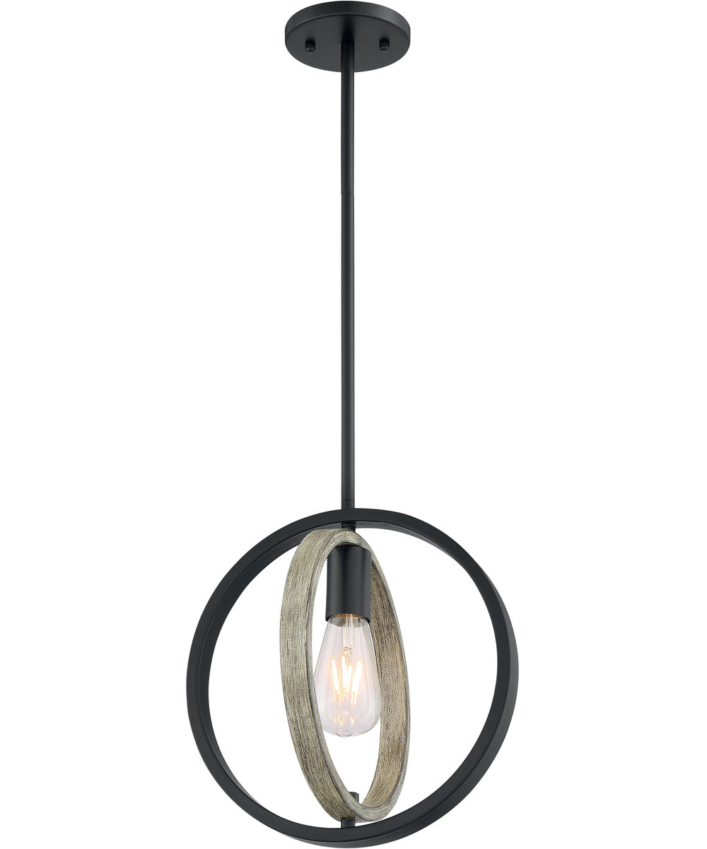 "10""W Augusta 1-Light Pendant Black / Wood"