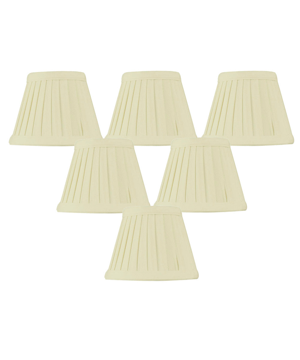 "5""W x 4""H Set of 6 Crisp Linen Pleated Clip-on Candelabra Lampshade"