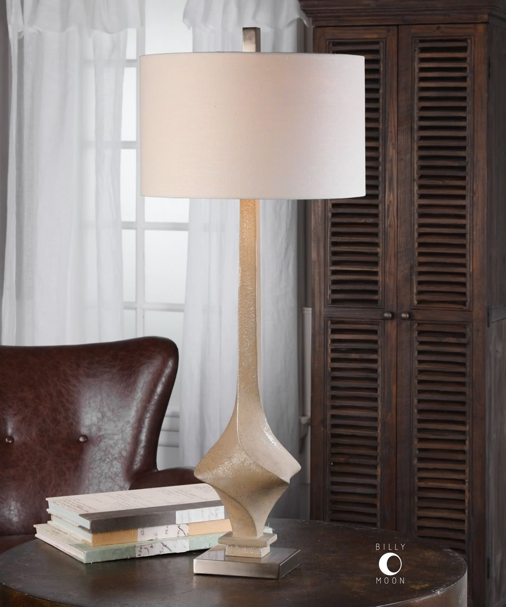 "37""H Roseta Sand Colored Twist Lamp"