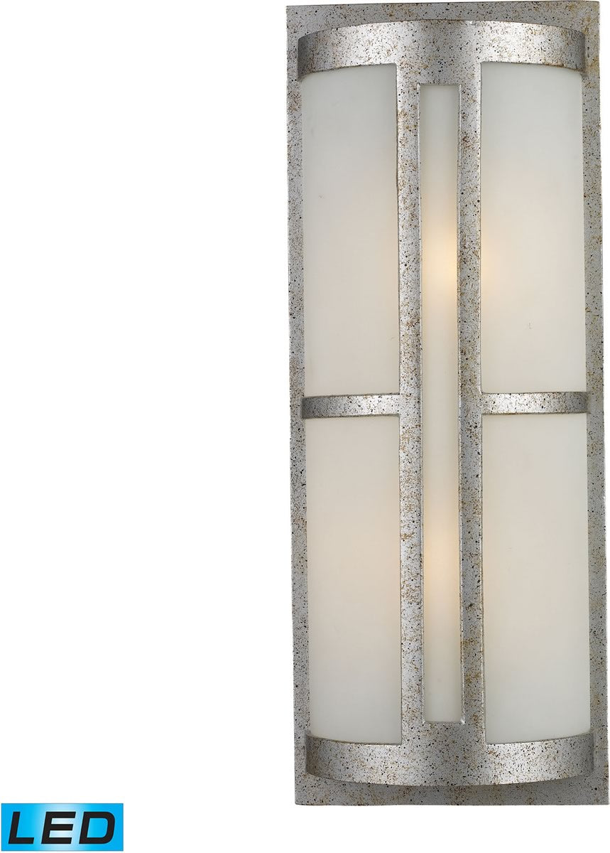 "22""H Trevot 2-Light Outdoor LED Wall Sconce Sunset Silver/Frosted Glass"
