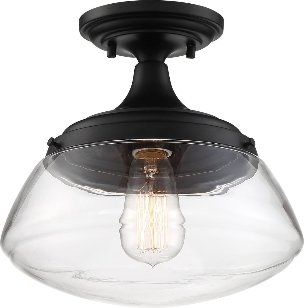 "10""W Kew 1-Light Close-to-Ceiling Aged Bronze / Clear"
