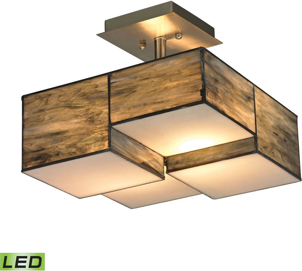 "13""W Cubist 2-Light LED Semi Flush Brushed Nickel"