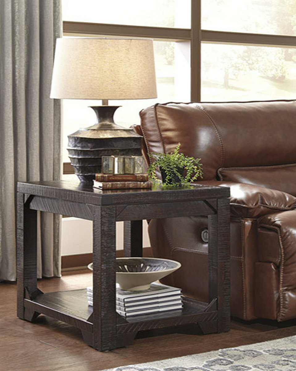 "25""H Rogness Rectangular End Table Rustic Brown"