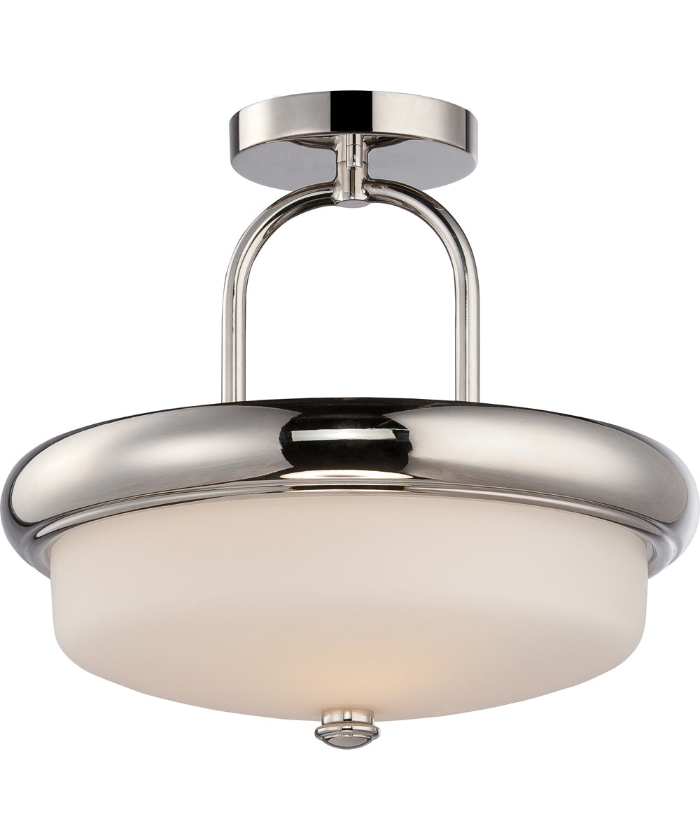 "13""W Dylan 2-Light Close-to-Ceiling Polished Nickel / Satin White"