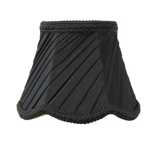 "5""W x 4""H Pleated Scallop Clip-on Candelabra Lampshade Black Fabric"