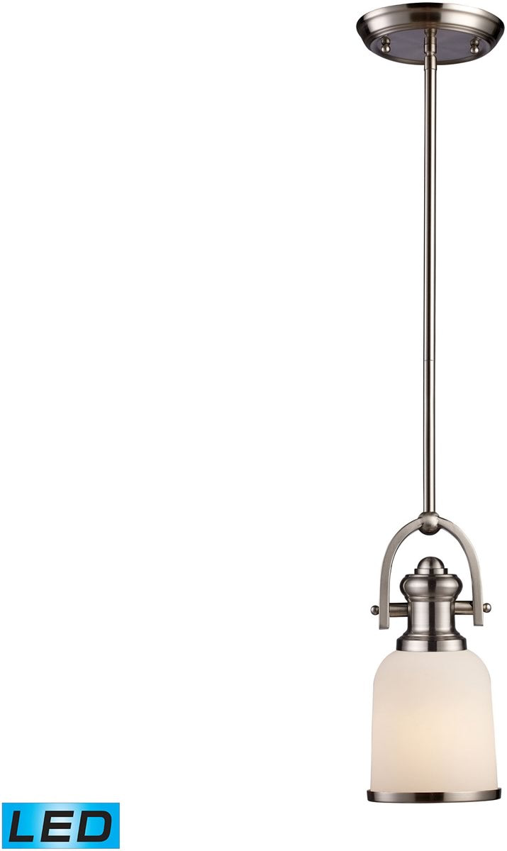 "5""W Brooksdale 1-Light LED Pendant Satin Nickel/White Glass"