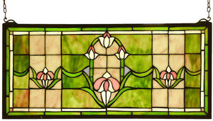 "11""H x 24""W Tulips Transom Window"