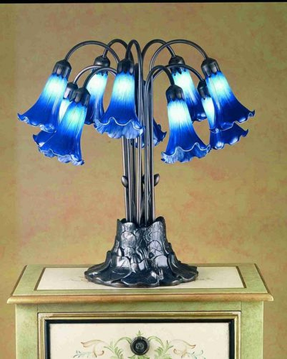 "22""H Pond Lily  10-Light Tiffany Table Lamp"