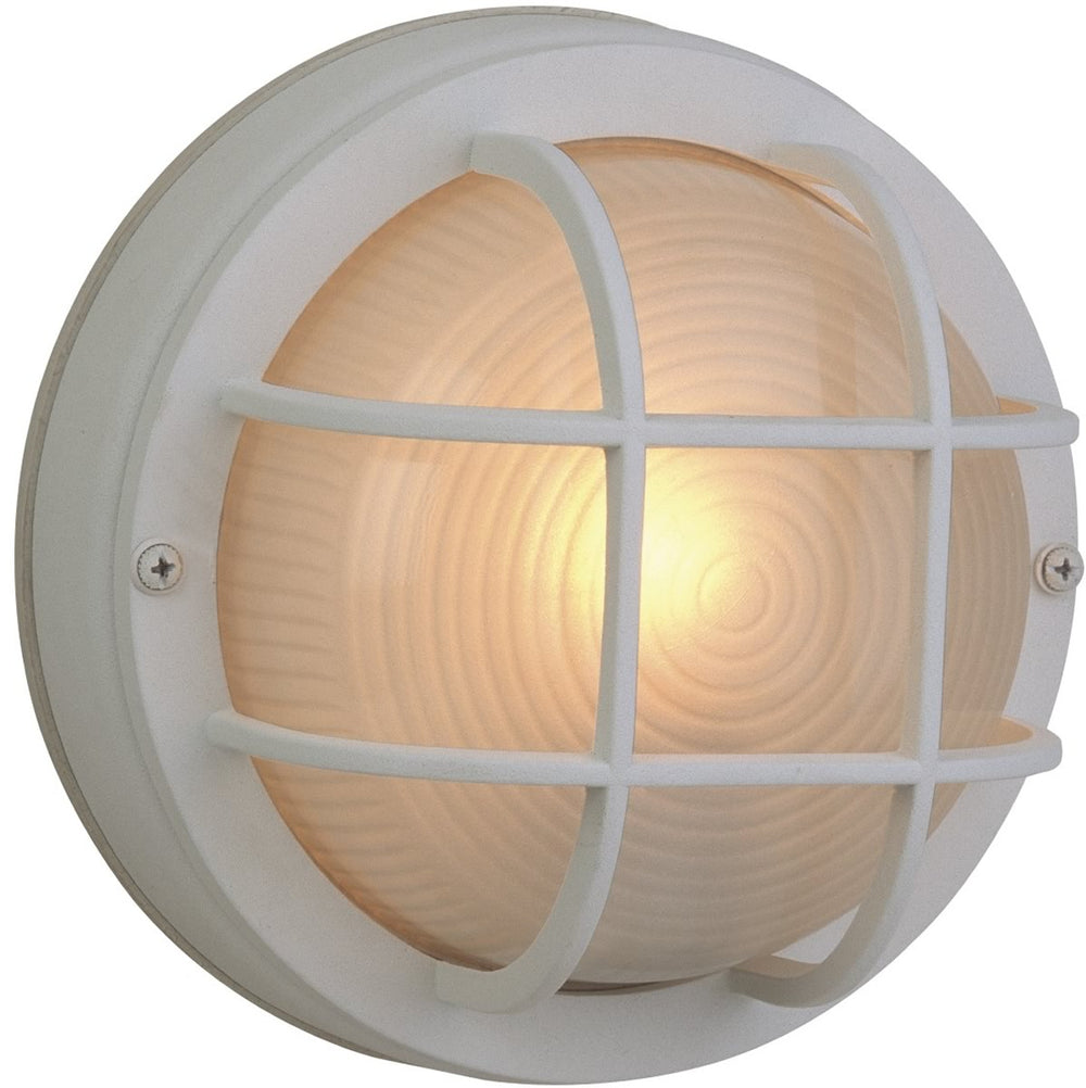 "8""W Bulkhead 1-Light Outdoor Flush Mount Matte White"