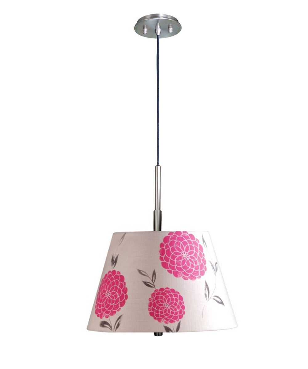 "16""W Satin Nickel Pendant Light with Floral Pink Barrel Shade and Diffuser"
