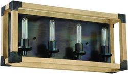 0-002045>Cubic 4-Light Bath Vanity Light Fired Steel/Natural Wood